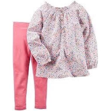 Bộ Carter's - Áo hoa, quần legging hồng