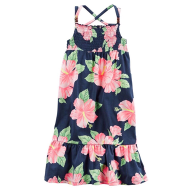 Váy Carter maxim - Hoa xanh hồng cam