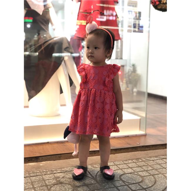 Váy Genuine Kids - ren đỏ hông