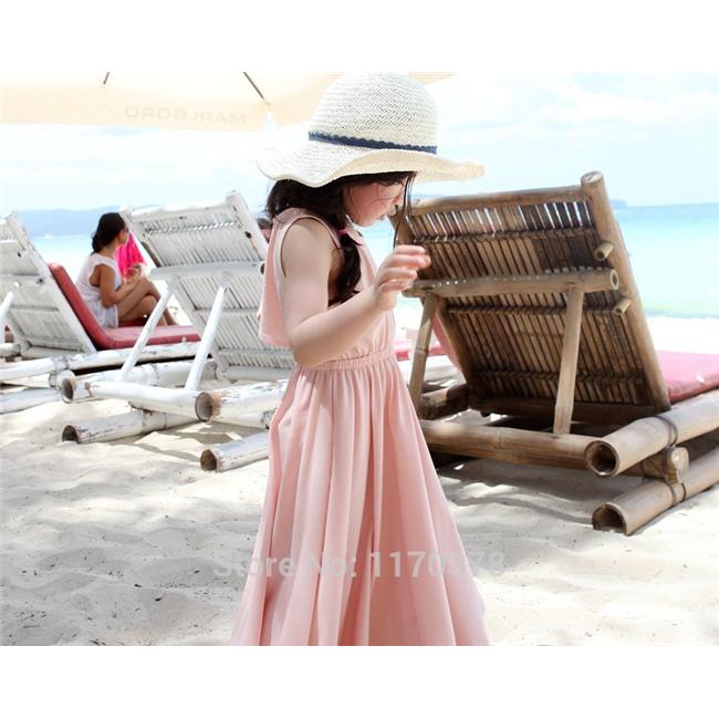 Váy maxim đi biển - Hồng Nhạt