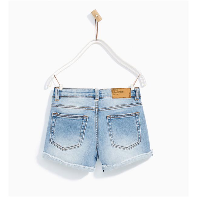 Quần shorts jean ZARA GIRLS-Xanh Nhạt