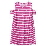 Thời trang trẻ em : Váy xòe rớt vai Gymborre - kẻ hồng