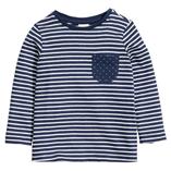 Thời trang trẻ em : Áo thun tay dài H&M - kẻ xanh đen