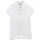 Thời trang trẻ em : Áo thun trơn có cổ - Màu trắng bé gái