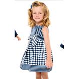 Thời trang trẻ em : Váy sọc nơ hoạt tiết bi xanh