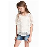 Thời trang trẻ em : Áo Ren Cánh Dơi - Trắng