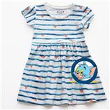 Thời trang trẻ em : Váy Xmax -  Sọc Xanh trái tim cam