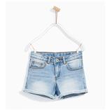 Thời trang trẻ em : Quần shorts jean ZARA GIRLS-Xanh Nhạt