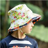 Thời trang trẻ em : Nón Đi Biển-05( nón chấm bi cam)