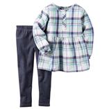 Thời trang trẻ em : Bộ Carter's - Caro sọc xanh quần giả jean