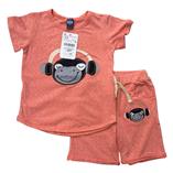 Thời trang trẻ em : Bộ thun Khỉ nghe nhạc cam