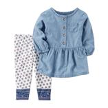 Thời trang trẻ em : Bộ Carter áo váy Denim và quần legging