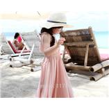 Thời trang trẻ em : Váy maxim đi biển - Hồng Nhạt