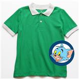 Thời trang trẻ em : Áo thun trơn có cổ - Màu xanh lá cổ trắng
