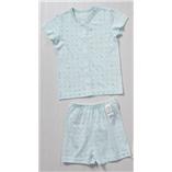 Thời trang trẻ em : Bộ cotton giấy hãng Happy Land xuất Hàn - Chấm bi xanh