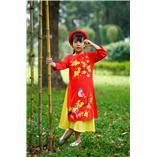 Thời trang trẻ em : Áo dài Xuân 2018 - Chim én và nhành mai
