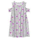 Thời trang trẻ em : Váy xòe rớt vai Gymborre - Kẽ ghi xám