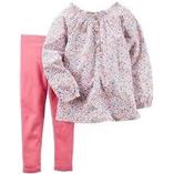 Thời trang trẻ em : Bộ Carter's - Áo hoa, quần legging hồng