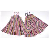 Thời trang trẻ em : Đầm Kate thô Linen Kẻ NỐI TẦNG 2 dây chéo