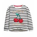Thời trang trẻ em : Áo nỉ Da cá Kẻ Vạt bo Cao- Thấp Hình đắp kim sa bé gái. H&M