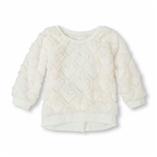 Thời trang trẻ em : Áo lông cừu - Tim trắng kem