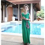 Thời trang trẻ em : Váy maxim đi biển - Xanh lục